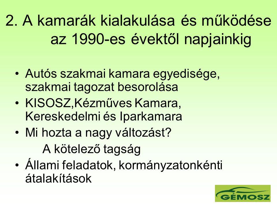 2. A kamarák kialakulása és működése az 1990-es évektől napjainkig Autós szakmai kamara egyedisége, szakmai tagozat besorolása KISOSZ,Kézműves Kamara,