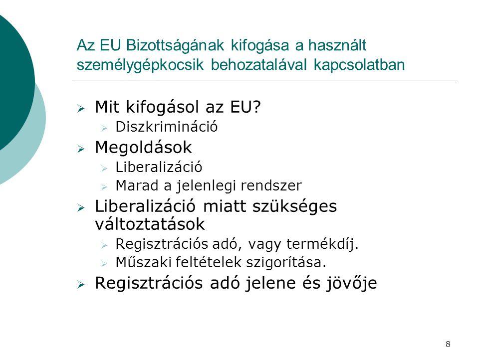 8 Az EU Bizottságának kifogása a használt személygépkocsik behozatalával kapcsolatban  Mit kifogásol az EU.