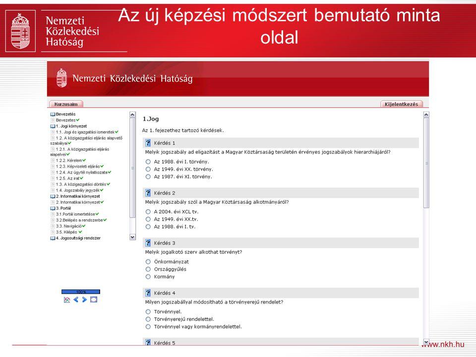 Az új képzési módszert bemutató minta oldal