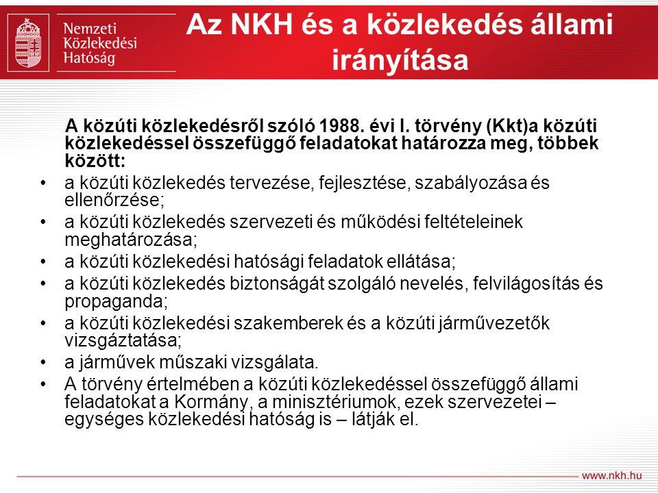 Az NKH és a közlekedés állami irányítása A közúti közlekedésről szóló 1988. évi I. törvény (Kkt)a közúti közlekedéssel összefüggő feladatokat határozz