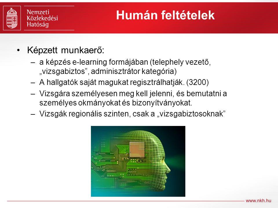 """Humán feltételek Képzett munkaerő: –a képzés e-learning formájában (telephely vezető, """"vizsgabiztos"""", adminisztrátor kategória) –A hallgatók saját mag"""