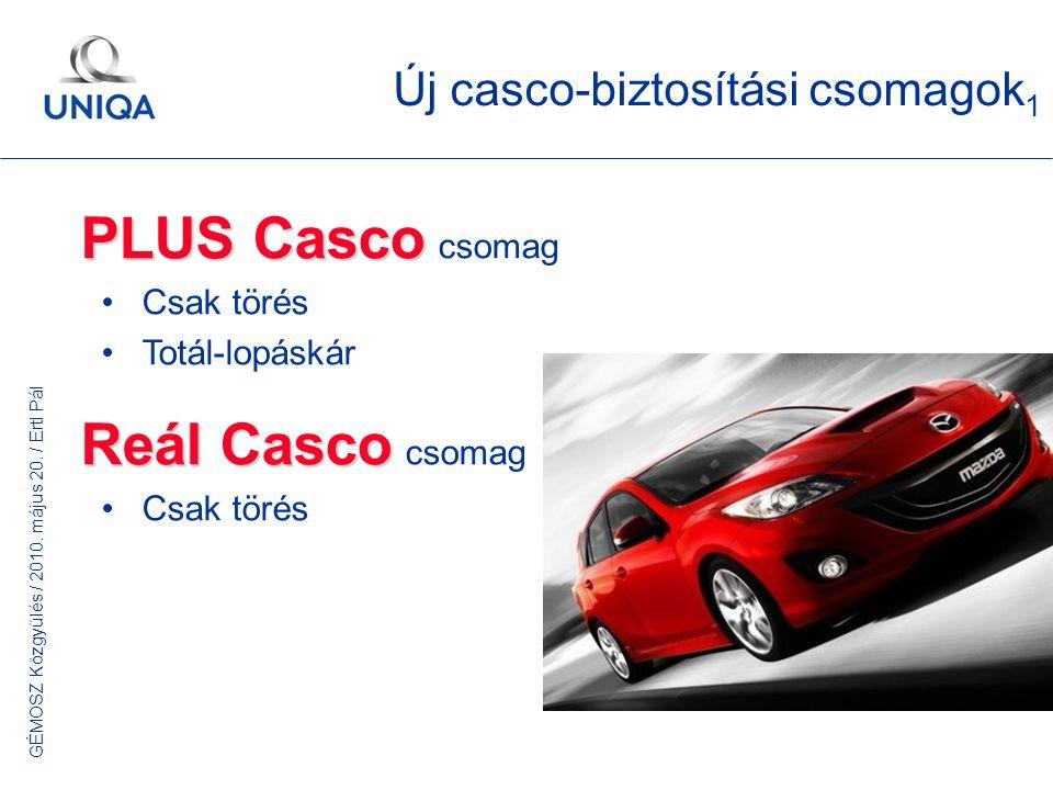 GÉMOSZ Közgyűlés / 2010. május 20. / Ertl Pál Új casco-biztosítási csomagok 1 PLUS Casco PLUS Casco csomag Csak törés Totál-lopáskár Reál Casco Reál C