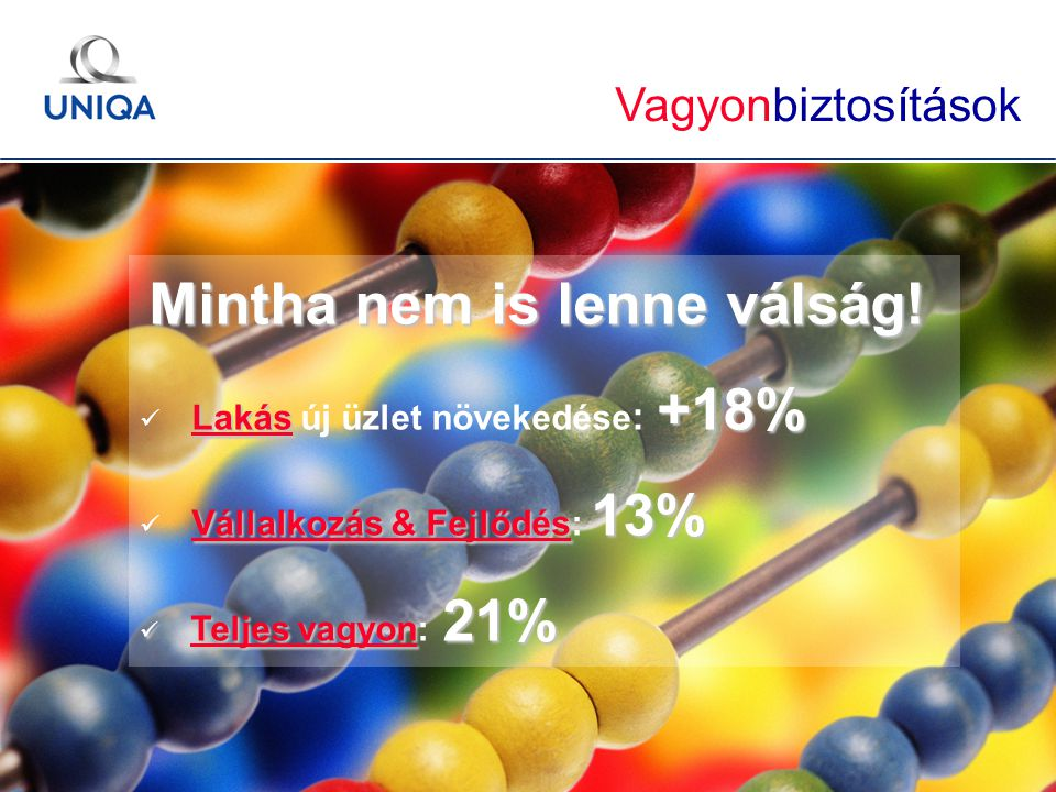 GÉMOSZ Közgyűlés / 2010. május 20. / Ertl Pál 24 Mintha nem is lenne válság! Lakás +18% Lakás új üzlet növekedése : +18% Vállalkozás & Fejlődés 13% Vá