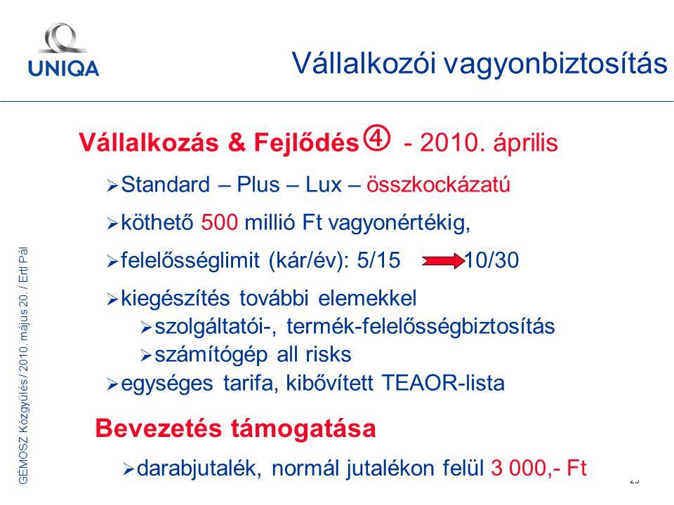 GÉMOSZ Közgyűlés / 2010. május 20. / Ertl Pál 25 Vállalkozói vagyonbiztosítás Vállalkozás & Fejlődés  - 2010. április  Standard – Plus – Lux – összk