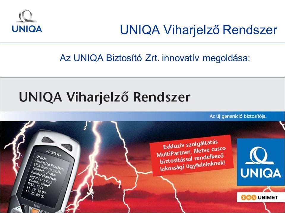 GÉMOSZ Közgyűlés / 2010. május 20. / Ertl Pál 31 Az UNIQA Biztosító Zrt. innovatív megoldása: UNIQA Viharjelző Rendszer