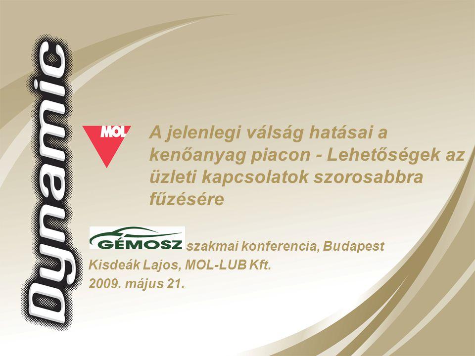 Kisdeák Lajos, MOL-LUB Kft. 2009. május 21. szakmai konferencia, Budapest A jelenlegi válság hatásai a kenőanyag piacon - Lehetőségek az üzleti kapcso