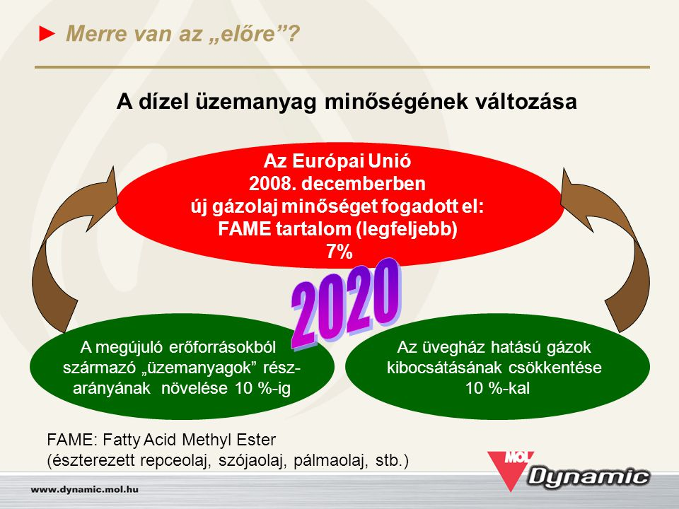 """► Merre van az """"előre""""? A dízel üzemanyag minőségének változása Az Európai Unió 2008. decemberben új gázolaj minőséget fogadott el: FAME tartalom (leg"""