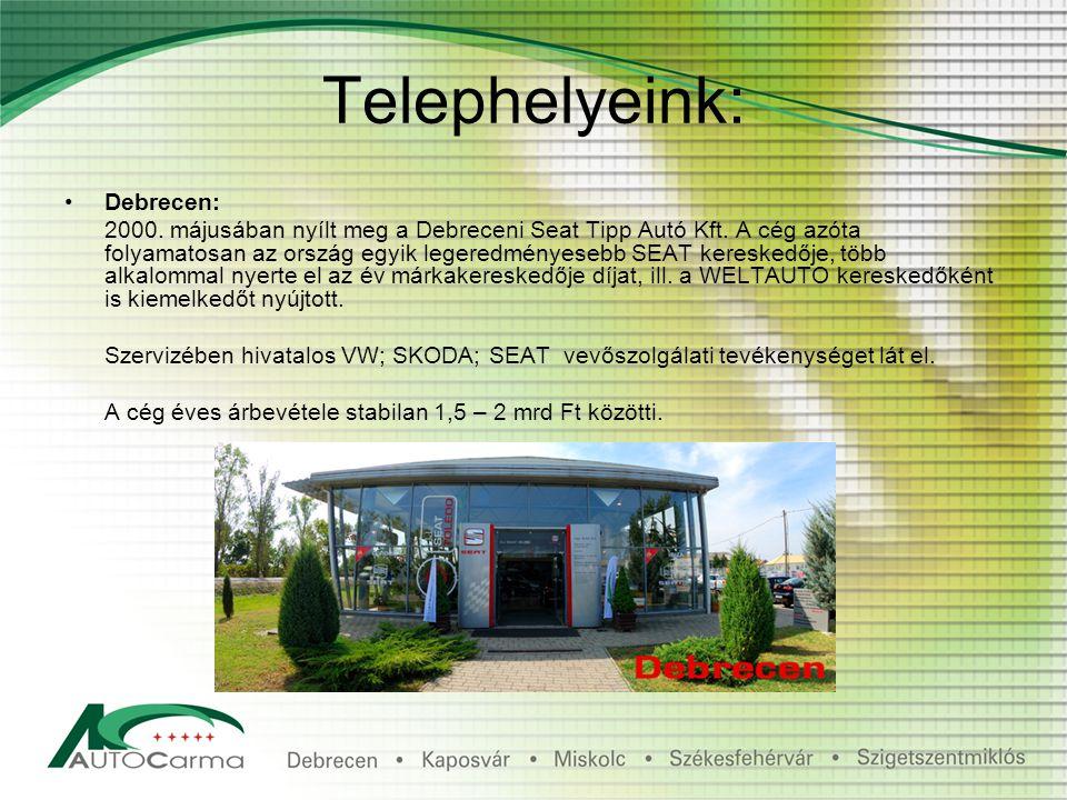 Telephelyeink: Debrecen: 2000. májusában nyílt meg a Debreceni Seat Tipp Autó Kft.