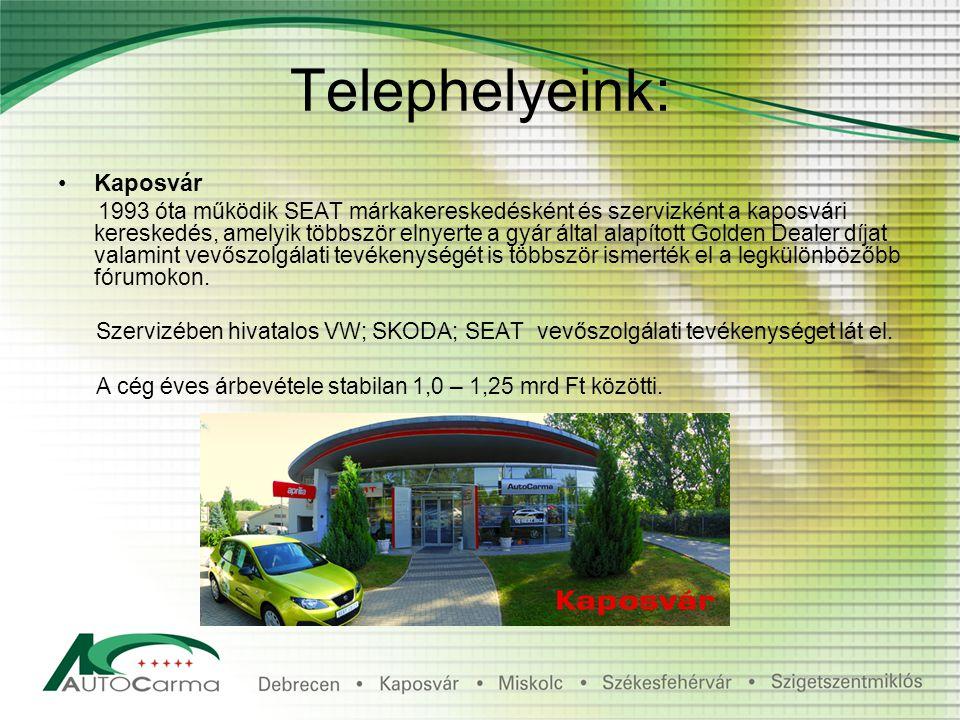 Telephelyeink: Kaposvár 1993 óta működik SEAT márkakereskedésként és szervizként a kaposvári kereskedés, amelyik többször elnyerte a gyár által alapított Golden Dealer díjat valamint vevőszolgálati tevékenységét is többször ismerték el a legkülönbözőbb fórumokon.