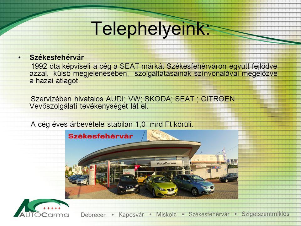 Telephelyeink: Székesfehérvár 1992 óta képviseli a cég a SEAT márkát Székesfehérváron együtt fejlődve azzal, külső megjelenésében, szolgáltatásainak színvonalával megelőzve a hazai átlagot.