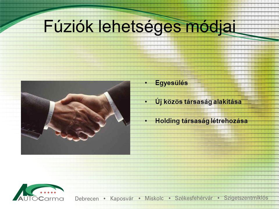 Fúziók lehetséges módjai Egyesülés Új közös társaság alakítása Holding társaság létrehozása