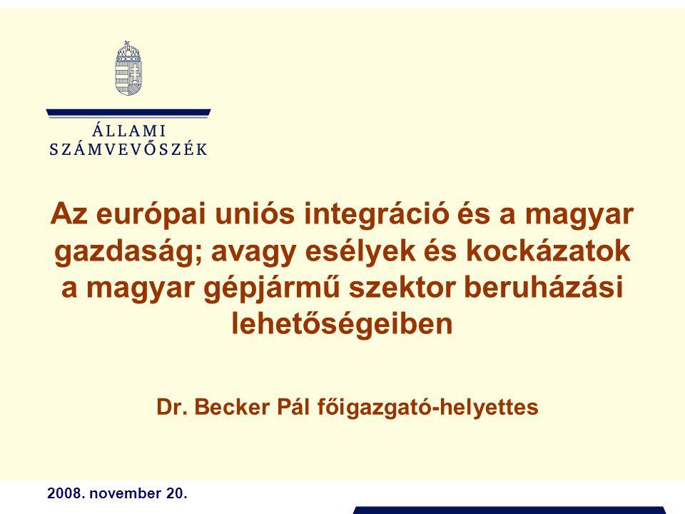 2008. november 20. Az európai uniós integráció és a magyar gazdaság; avagy esélyek és kockázatok a magyar gépjármű szektor beruházási lehetőségeiben D