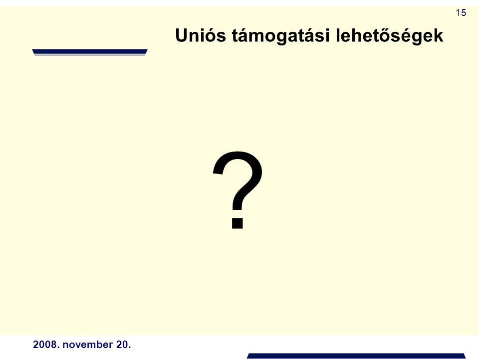 2008. november 20. 15 Uniós támogatási lehetőségek ?