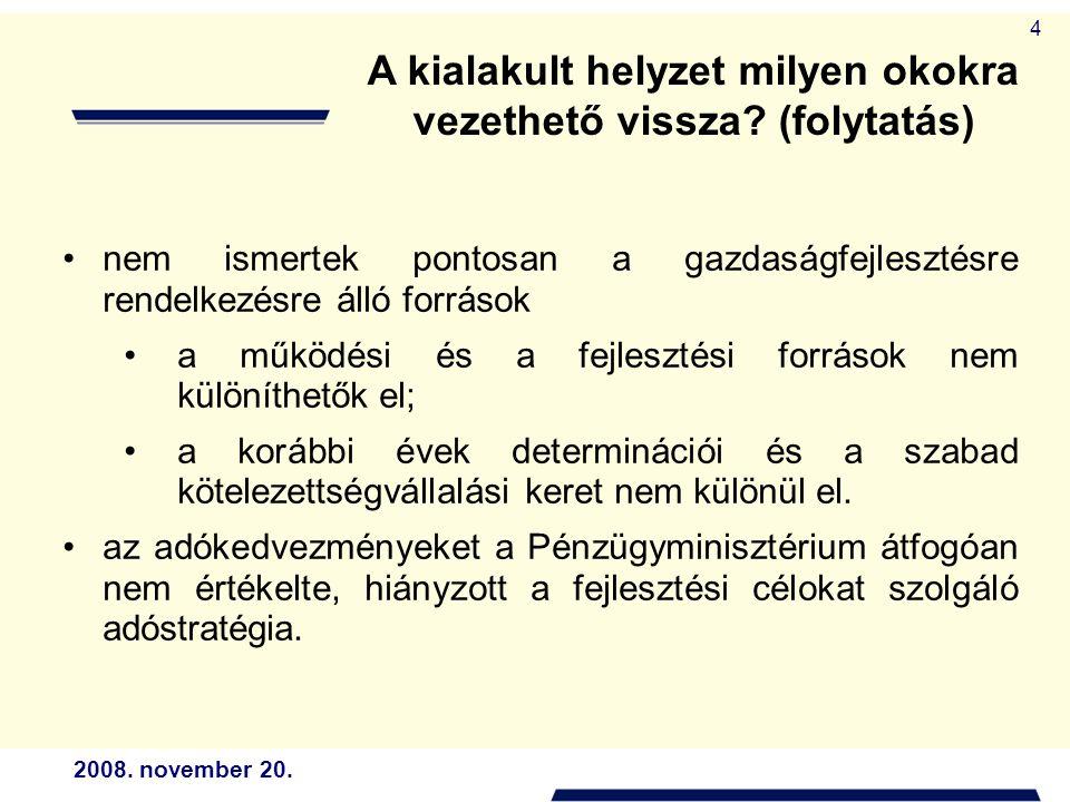 2008. november 20. 4 A kialakult helyzet milyen okokra vezethető vissza? (folytatás) nem ismertek pontosan a gazdaságfejlesztésre rendelkezésre álló f