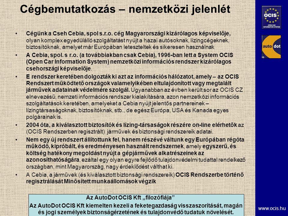 www.ocis.hu Cégbemutatkozás – nemzetközi jelenlét Cégünk a Cseh Cebia, spol s.r.o.