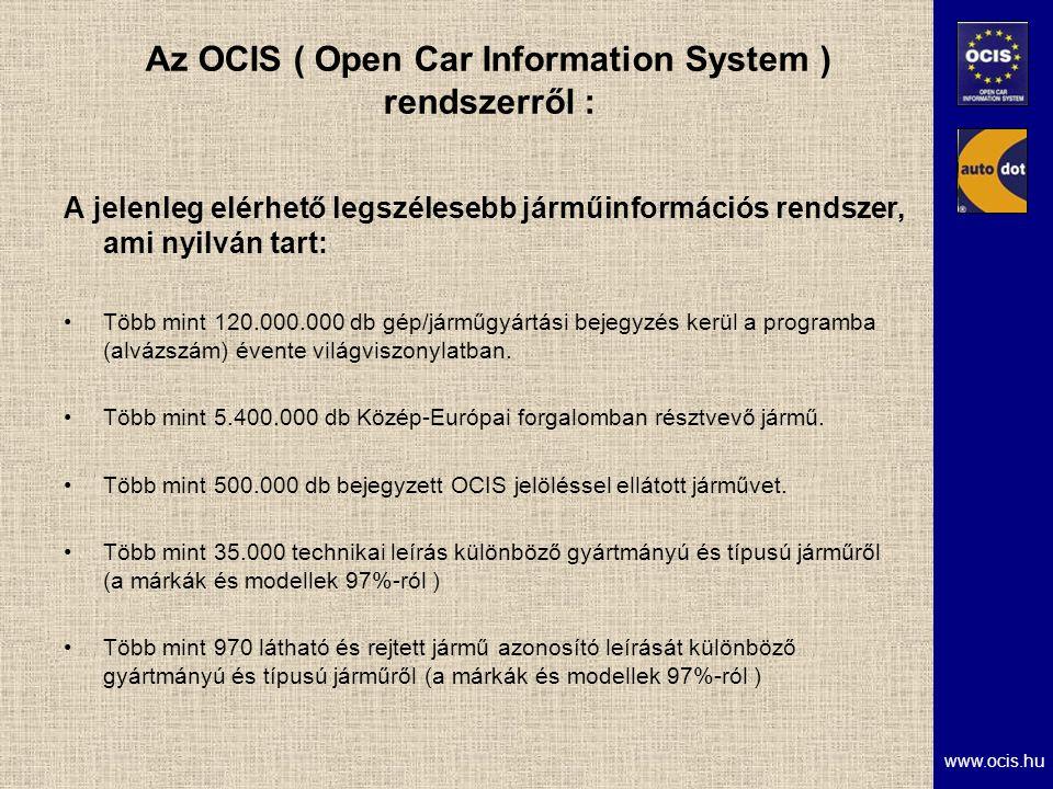 www.ocis.hu Az OCIS ( Open Car Information System ) rendszerről : A jelenleg elérhető legszélesebb járműinformációs rendszer, ami nyilván tart: Több mint 120.000.000 db gép/járműgyártási bejegyzés kerül a programba (alvázszám) évente világviszonylatban.