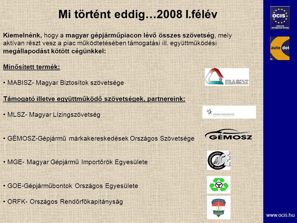www.ocis.hu Mi történt eddig…2008 I.félév Kiemelnénk, hogy a magyar gépjárműpiacon lévő összes szövetség, mely aktívan részt vesz a piac működtetésében támogatási ill.