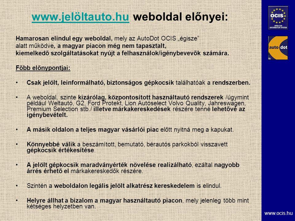 """www.ocis.hu www.jelöltauto.huwww.jelöltauto.hu weboldal előnyei: Hamarosan elindul egy weboldal, mely az AutoDot OCIS """"égisze alatt működve, a magyar piacon még nem tapasztalt, kiemelkedő szolgáltatásokat nyújt a felhasználok/igénybevevők számára."""