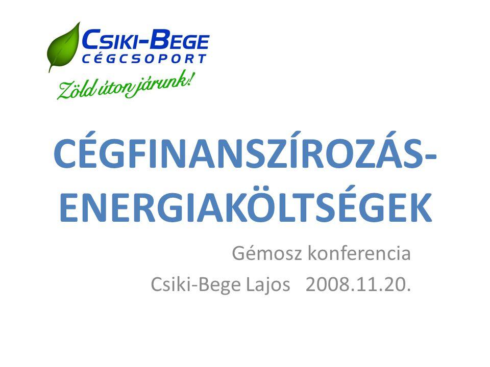CÉGFINANSZÍROZÁS- ENERGIAKÖLTSÉGEK Gémosz konferencia Csiki-Bege Lajos 2008.11.20.