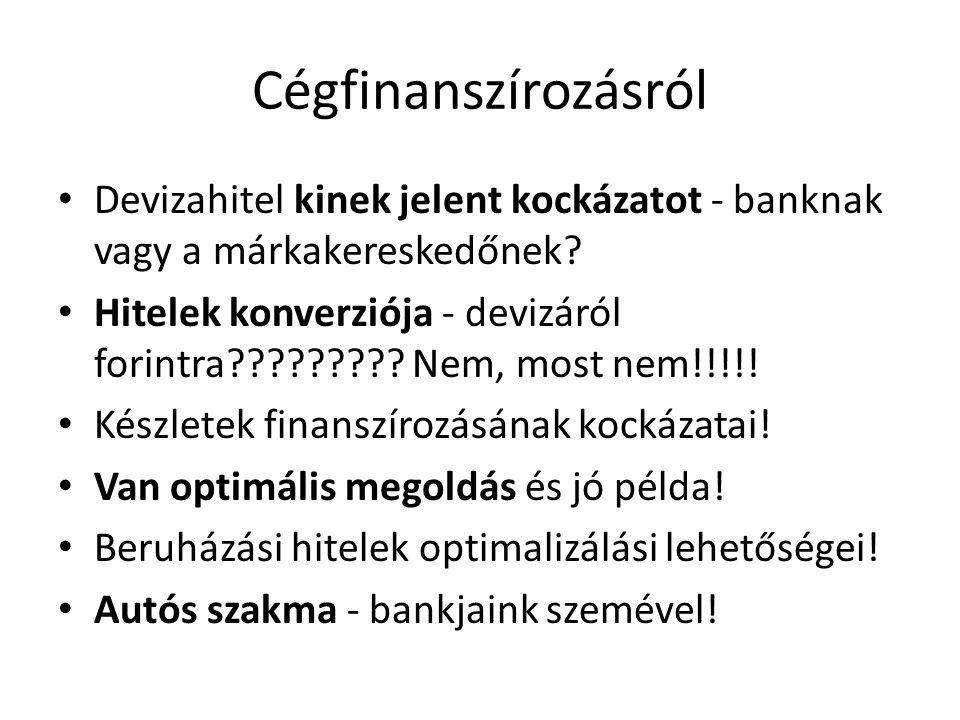 Cégfinanszírozásról Devizahitel kinek jelent kockázatot - banknak vagy a márkakereskedőnek? Hitelek konverziója - devizáról forintra????????? Nem, mos