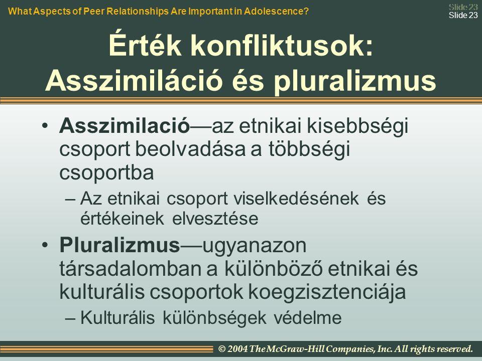 Slide 23 © 2004 The McGraw-Hill Companies, Inc. All rights reserved. Slide 23 Érték konfliktusok: Asszimiláció és pluralizmus Asszimilació—az etnikai