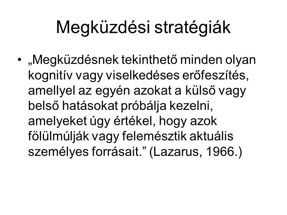 """Megküzdési stratégiák """"Megküzdésnek tekinthető minden olyan kognitív vagy viselkedéses erőfeszítés, amellyel az egyén azokat a külső vagy belső hatásokat próbálja kezelni, amelyeket úgy értékel, hogy azok fölülmúlják vagy felemésztik aktuális személyes forrásait. (Lazarus, 1966.)"""
