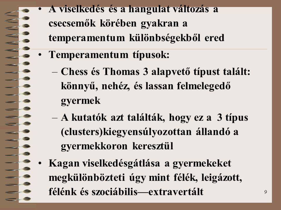 9 A viselkedés és a hangulat változás a csecsemők körében gyakran a temperamentum különbségekből ered Temperamentum típusok: –Chess és Thomas 3 alapvető típust talált: könnyű, nehéz, és lassan felmelegedő gyermek –A kutatók azt találták, hogy ez a 3 típus (clusters)kiegyensúlyozottan állandó a gyermekkoron keresztül Kagan viselkedésgátlása a gyermekeket megkülönbözteti úgy mint félék, leigázott, félénk és szociábilis—extravertált