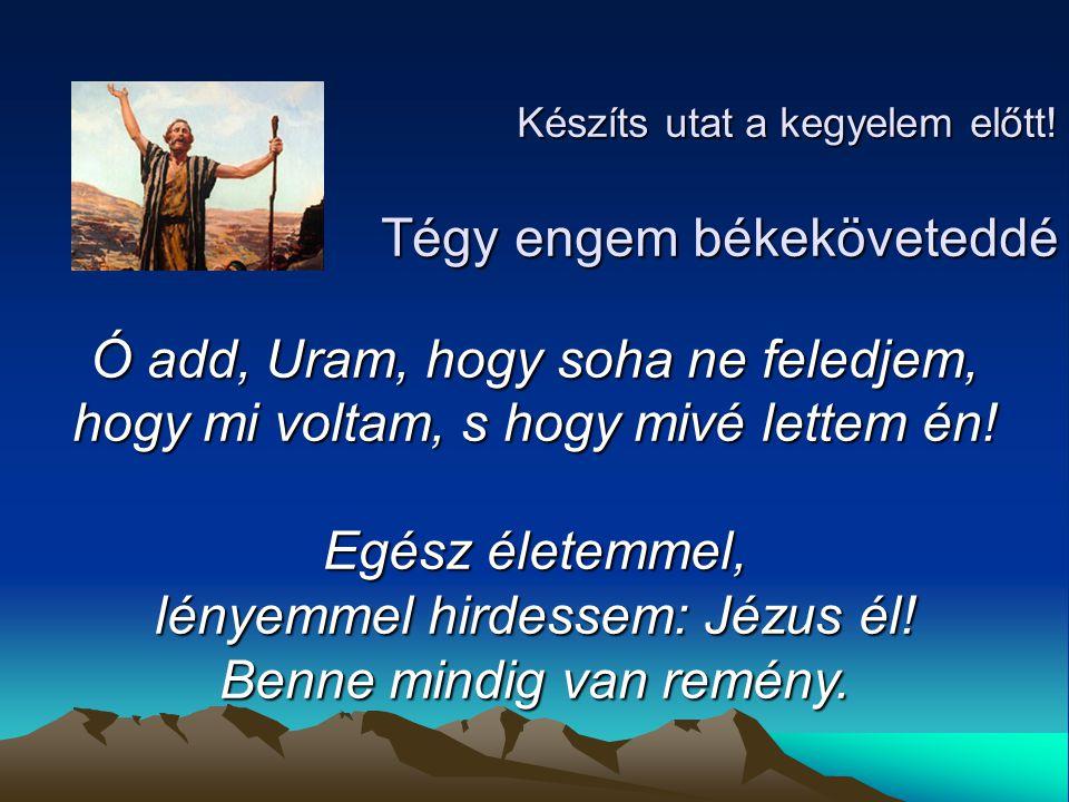 Készíts utat a kegyelem előtt! Tégy engem békeköveteddé Ó add, Uram, hogy soha ne feledjem, hogy mi voltam, s hogy mivé lettem én! Egész életemmel, lé