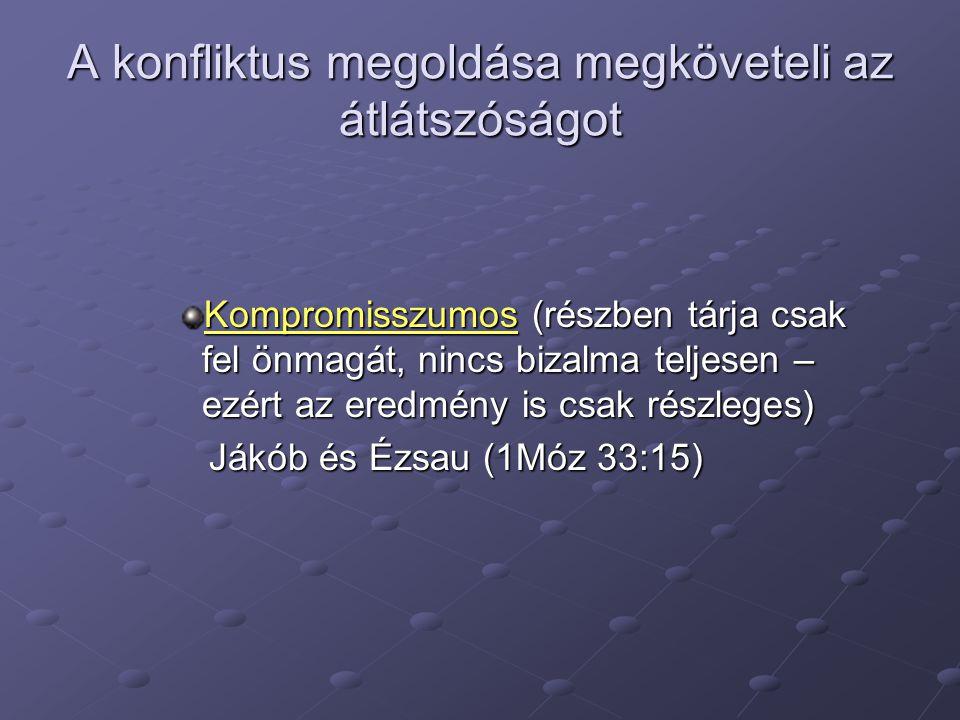 A konfliktus megoldása megköveteli az átlátszóságot Kompromisszumos (részben tárja csak fel önmagát, nincs bizalma teljesen – ezért az eredmény is csak részleges) Jákób és Ézsau (1Móz 33:15) Jákób és Ézsau (1Móz 33:15)
