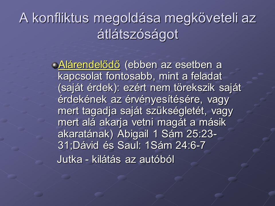A konfliktus megoldása megköveteli az átlátszóságot Alárendelődő (ebben az esetben a kapcsolat fontosabb, mint a feladat (saját érdek): ezért nem törekszik saját érdekének az érvényesítésére, vagy mert tagadja saját szükségletét, vagy mert alá akarja vetni magát a másik akaratának) Abigail 1 Sám 25:23- 31;Dávid és Saul: 1Sám 24:6-7 Jutka - kilátás az autóból Jutka - kilátás az autóból
