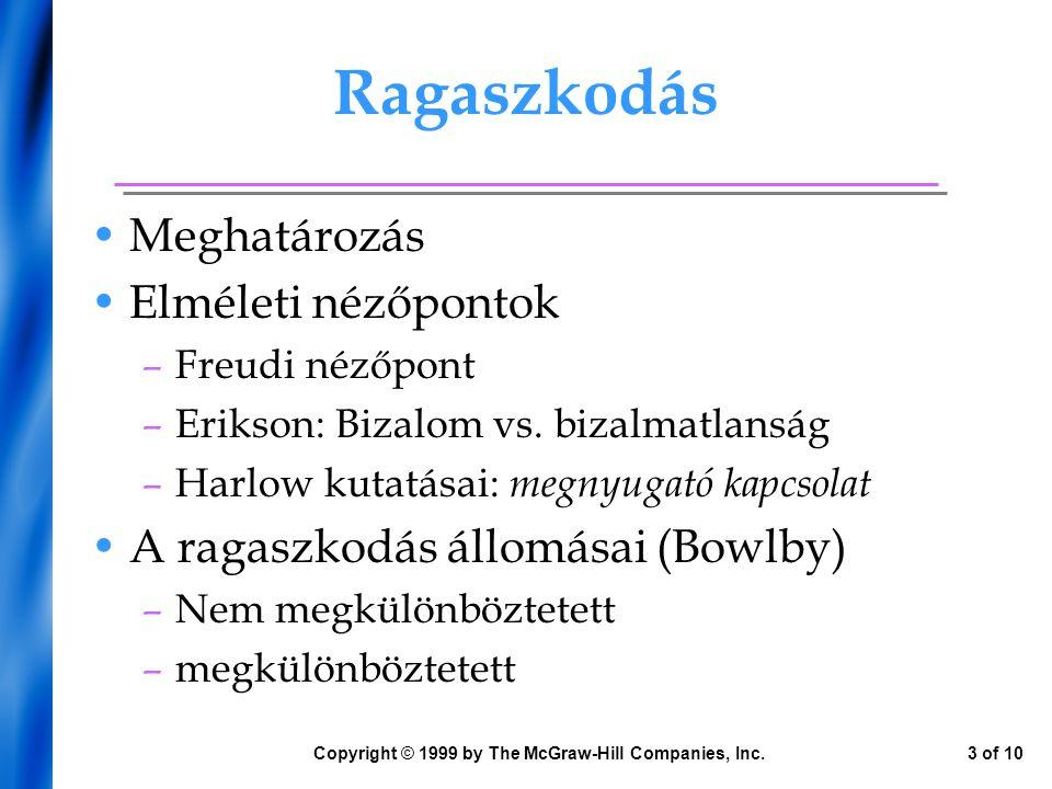Ragaszkodás Meghatározás Elméleti nézőpontok –Freudi nézőpont –Erikson: Bizalom vs. bizalmatlanság –Harlow kutatásai: megnyugató kapcsolat A ragaszkod
