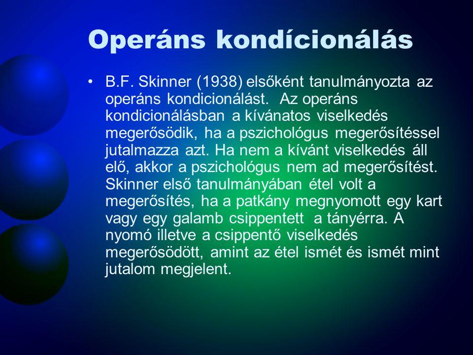 Operáns kondícionálás B.F. Skinner (1938) elsőként tanulmányozta az operáns kondicionálást. Az operáns kondicionálásban a kívánatos viselkedés megerős