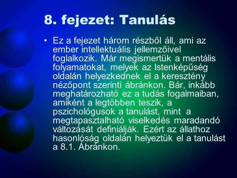 8. fejezet: Tanulás Ez a fejezet három részből áll, ami az ember intellektuális jellemzőivel foglalkozik. Már megismertük a mentális folyamatokat, mel