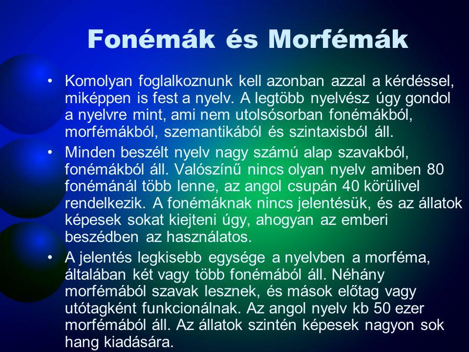 Fonémák és Morfémák Komolyan foglalkoznunk kell azonban azzal a kérdéssel, miképpen is fest a nyelv. A legtöbb nyelvész úgy gondol a nyelvre mint, ami