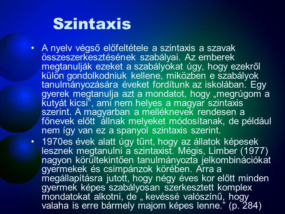 Szintaxis A nyelv végső előfeltétele a szintaxis a szavak összeszerkesztésének szabályai. Az emberek megtanulják ezeket a szabályokat úgy, hogy ezekrő