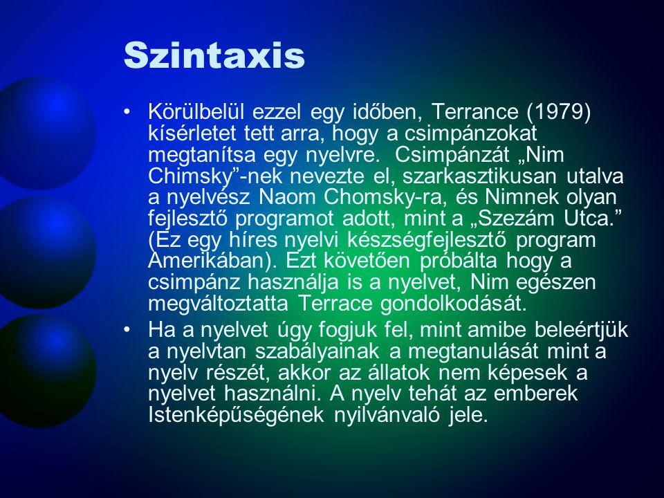 """Szintaxis Körülbelül ezzel egy időben, Terrance (1979) kísérletet tett arra, hogy a csimpánzokat megtanítsa egy nyelvre. Csimpánzát """"Nim Chimsky""""-nek"""