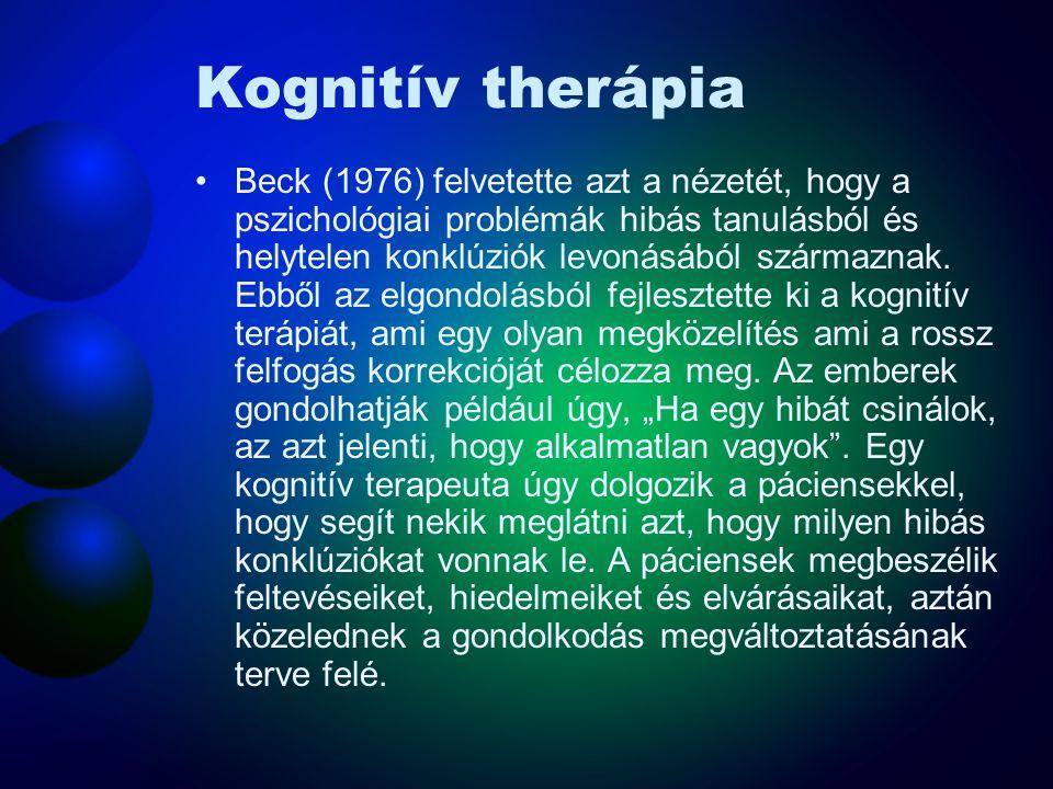 Kognitív therápia Beck (1976) felvetette azt a nézetét, hogy a pszichológiai problémák hibás tanulásból és helytelen konklúziók levonásából származnak