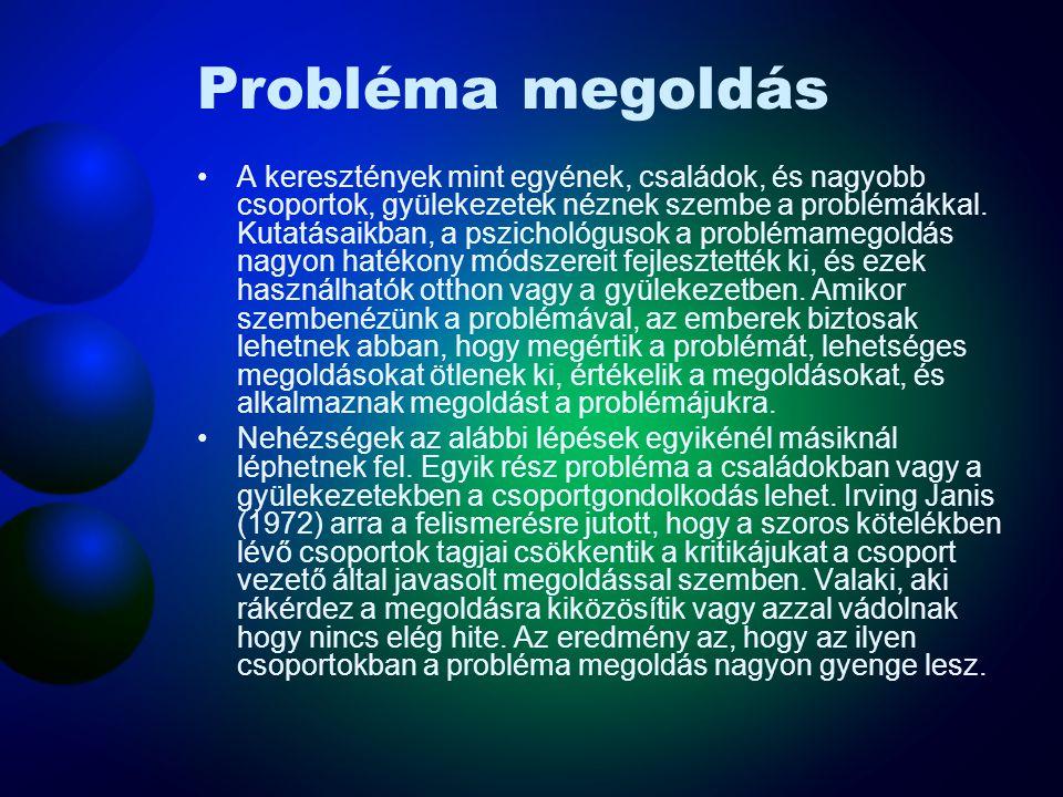 Probléma megoldás A keresztények mint egyének, családok, és nagyobb csoportok, gyülekezetek néznek szembe a problémákkal. Kutatásaikban, a pszichológu