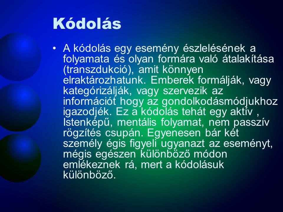 Kódolás A kódolás egy esemény észlelésének a folyamata és olyan formára való átalakítása (transzdukció), amit könnyen elraktározhatunk. Emberek formál