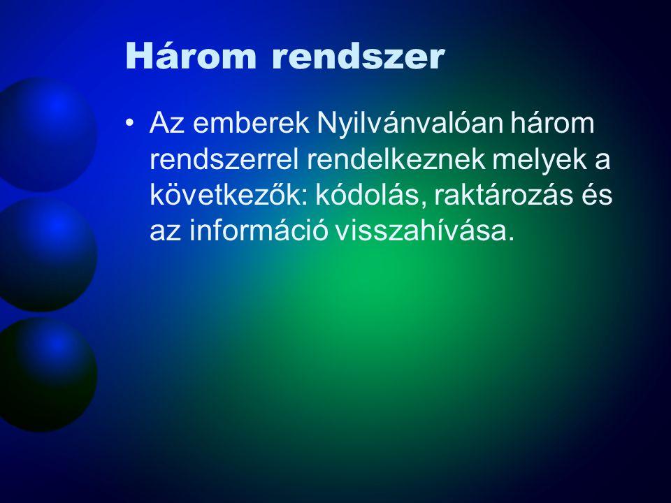Három rendszer Az emberek Nyilvánvalóan három rendszerrel rendelkeznek melyek a következők: kódolás, raktározás és az információ visszahívása.
