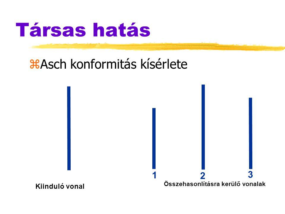 Társas hatás zAsch konformitás kísérlete Összehasonlításra kerülő vonalak Kiinduló vonal 1 2 3