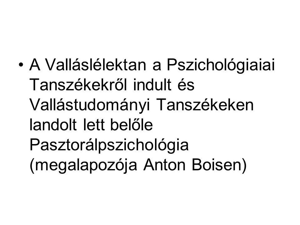 A Valláslélektan a Pszichológiaiai Tanszékekről indult és Vallástudományi Tanszékeken landolt lett belőle Pasztorálpszichológia (megalapozója Anton Bo