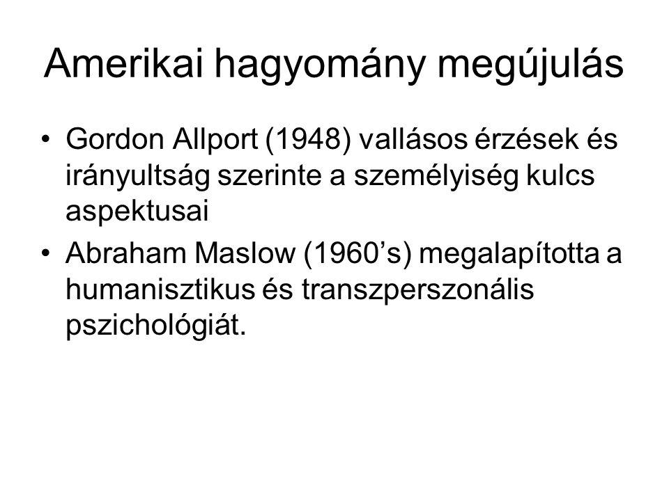 Amerikai hagyomány megújulás Gordon Allport (1948) vallásos érzések és irányultság szerinte a személyiség kulcs aspektusai Abraham Maslow (1960's) meg