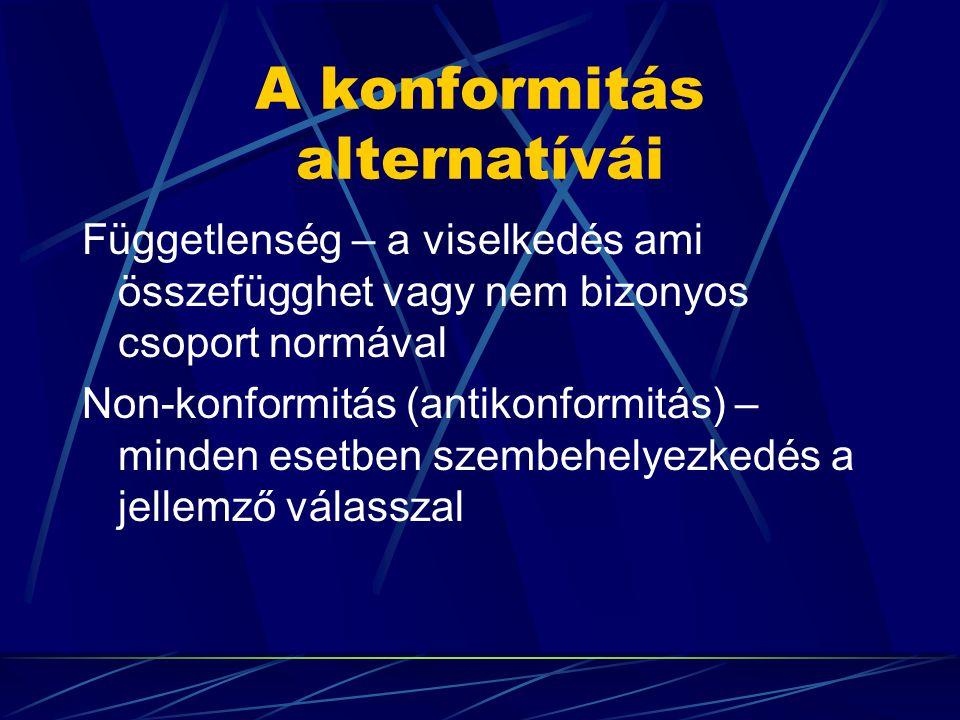 A konformitás alternatívái Függetlenség – a viselkedés ami összefügghet vagy nem bizonyos csoport normával Non-konformitás (antikonformitás) – minden esetben szembehelyezkedés a jellemző válasszal
