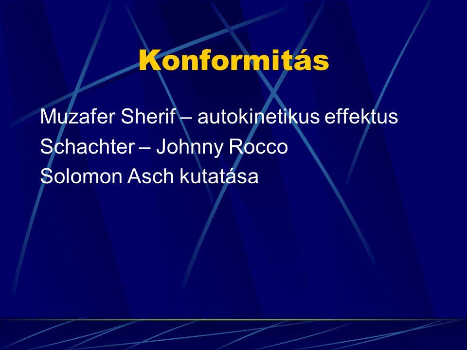 Konformitás Muzafer Sherif – autokinetikus effektus Schachter – Johnny Rocco Solomon Asch kutatása