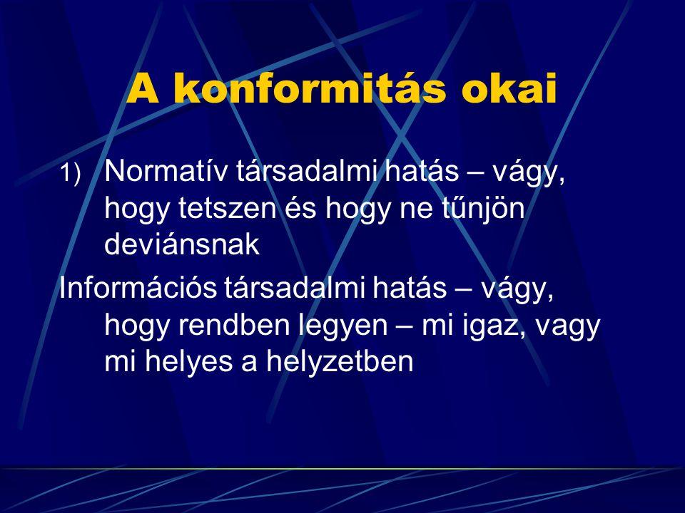 A konformitás okai 1) Normatív társadalmi hatás – vágy, hogy tetszen és hogy ne tűnjön deviánsnak Információs társadalmi hatás – vágy, hogy rendben legyen – mi igaz, vagy mi helyes a helyzetben