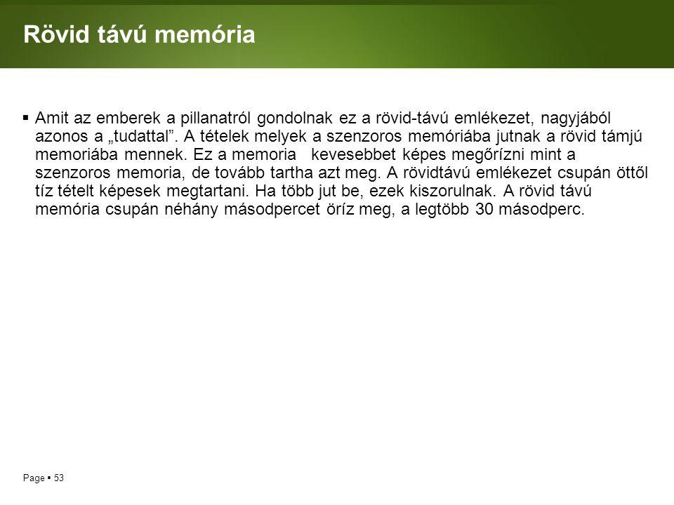 """Page  53 Rövid távú memória  Amit az emberek a pillanatról gondolnak ez a rövid-távú emlékezet, nagyjából azonos a """"tudattal"""". A tételek melyek a sz"""