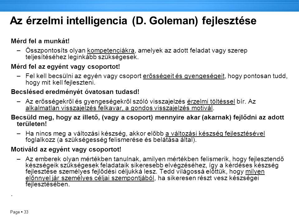 Page  33 Az érzelmi intelligencia (D.Goleman) fejlesztése Mérd fel a munkát.