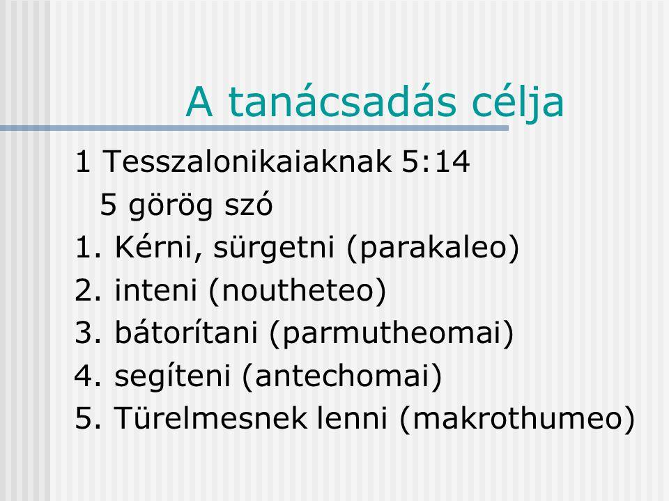 A tanácsadás célja 1 Tesszalonikaiak 5:14 Kérünk titeket, testvéreink, intsétek a tétlenkedőket, biztassátok a bátortalanokat, karoljátok fel az erőtleneket, legyetek türelmesek mindenkihez.