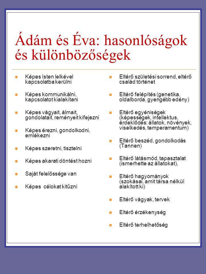 Ádám és Éva: hasonlóságok és különbözőségek Képes Isten lelkével kapcsolatba kerülni Képes kommunikálni, kapcsolatot kialakítani Képes vágyait, álmait